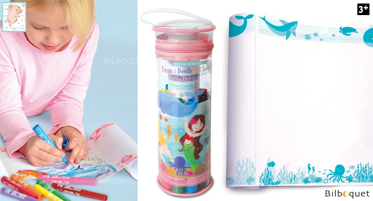 Create & Doodle Roll Travel Set - Magical Mermaids The Piggy Story