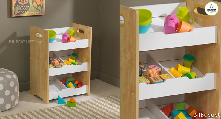 Angled Bin Unit - Natural with White Shelves KidKraft