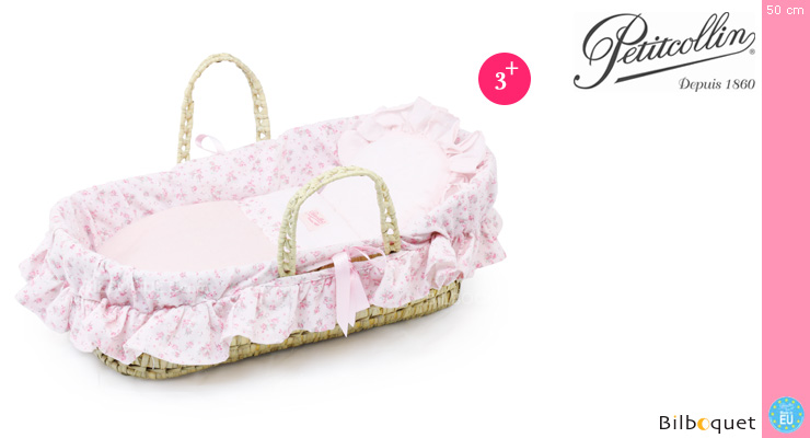 Moses Basket for doll up to 50cm - Flowers Petitcollin