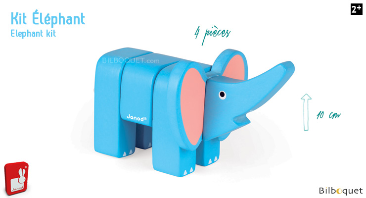 Funny Animal Kit Elephant - Wooden Puzzle Janod