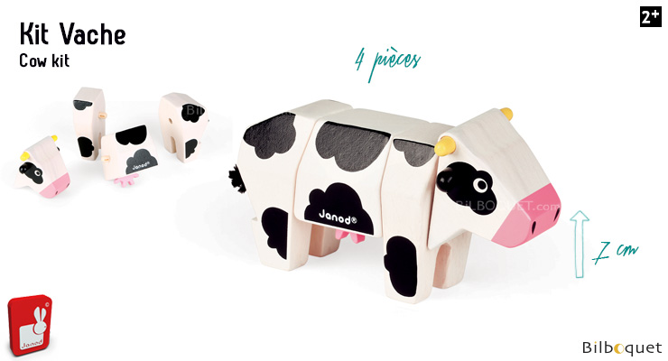 Funny Animal Kit Cow - Wooden Puzzle Janod