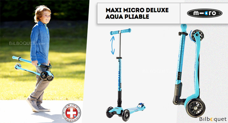 Maxi Micro Deluxe Aqua foldable - Scooter for ages 5-12 Micro Mobility Scooters & Kickboards