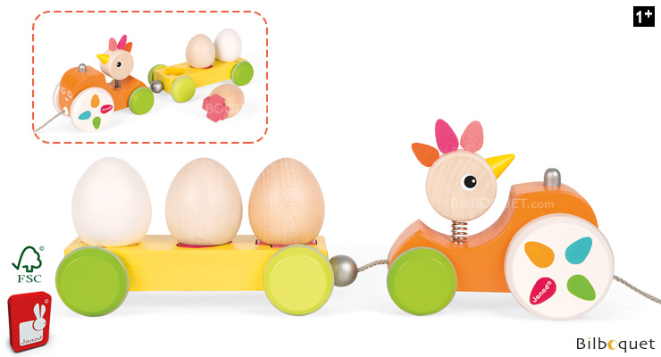 Pull-Along Tractor Hen - Wooden Toy Janod