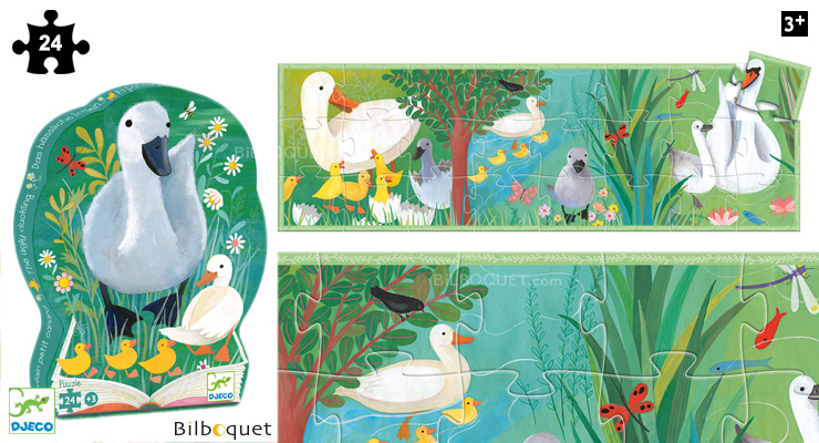 The Ugly Duckling - Silhouette Puzzle 24 pieces Djeco