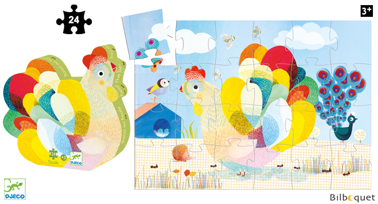 Raoul the hen - Silhouette Puzzle 24 pieces Djeco