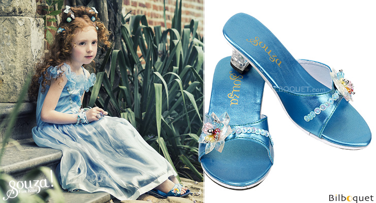 Maerle - Pair of Slippers with heels, metallic blue size 30-31 Souza for kids