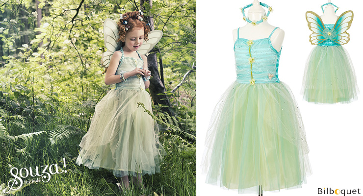 Turquoise Dress Josiane - Costume for Girl ages 3-4 Souza for kids