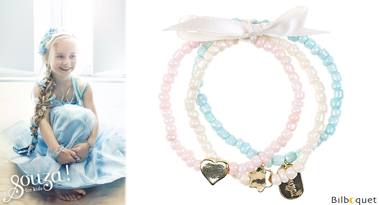 Aafke Bracelets pink/pearly/water green - Kids Jewelry Souza for kids