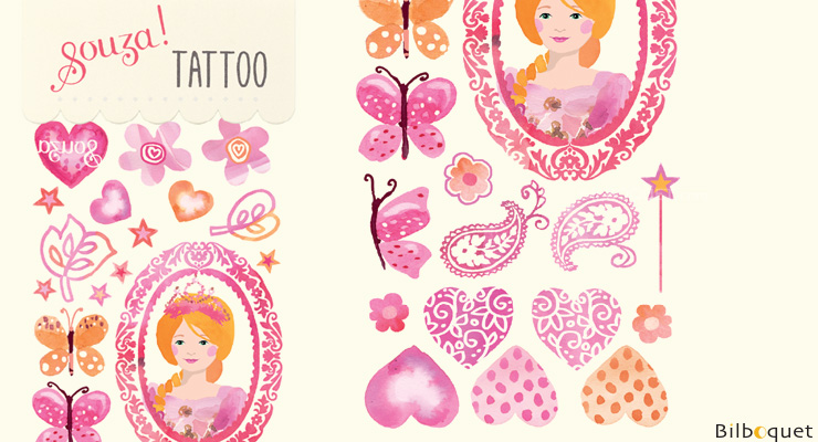 Princess Tattoos for children (ephemeral) Souza for kids