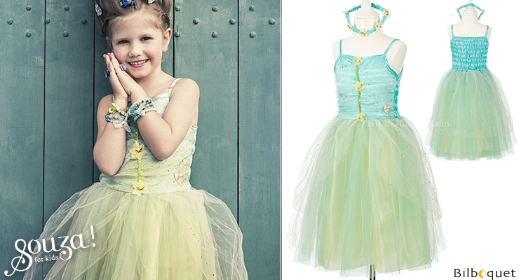 Turquoise Dress Josiane - Costume for Girl ages 8-10 Souza for kids