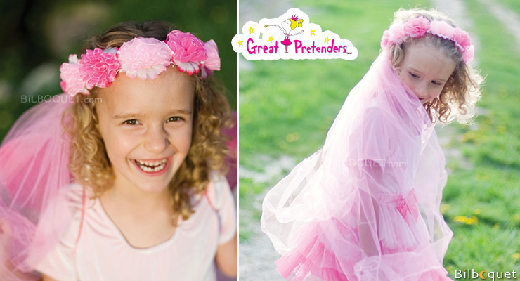 Flower Power Veil and Halo - Girl Costume Great Pretenders