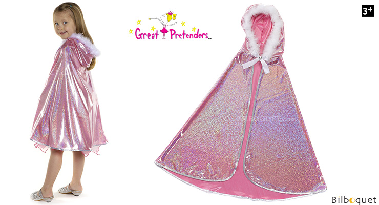 Pink Glitter Princess Cape - Kid Costume ages 5-6 Great Pretenders
