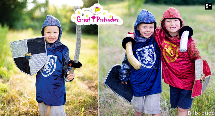 Sir Gallahad Hooded Shirt, Silver/Blue - Boy Cost ages 5-6 Great Pretenders