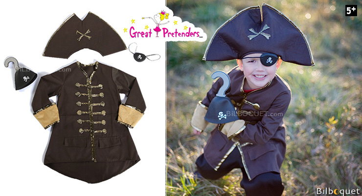 Captain Hook Set, Brown - Costume for Boy ages 5-6 Great Pretenders