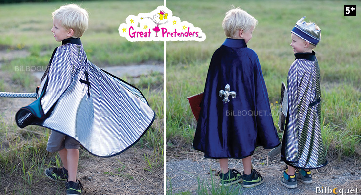 Reversible King/Knight Cape silver/blue - Kid Costume ages 5-6 Great Pretenders