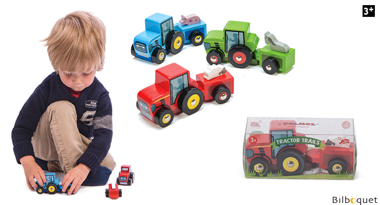 Tractor with trailer - RED - Wooden Toy Car Le Toy Van