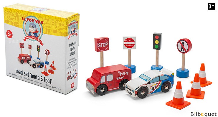 Road Set Route & Toot - Wooden Toy Cars and Accessories Le Toy Van