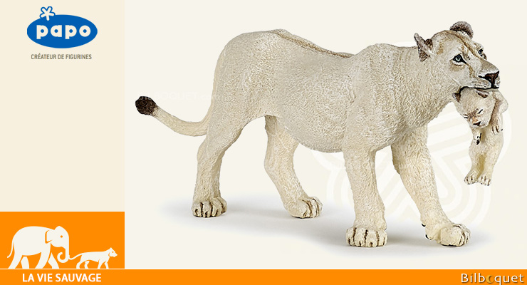 White lioness with cub - Collectible Figurine Papo