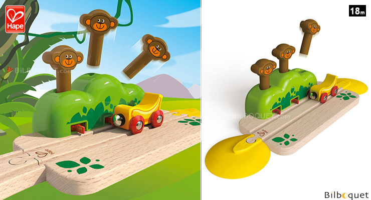 Monkey Pop-Up Track - Wooden Toy Hape Toys
