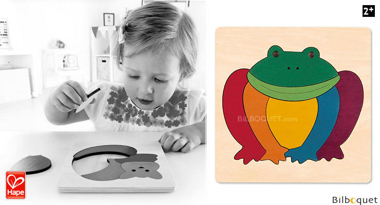 Wooden Puzzle Rainbow Frog (8 pieces) by George Luck Hape Toys