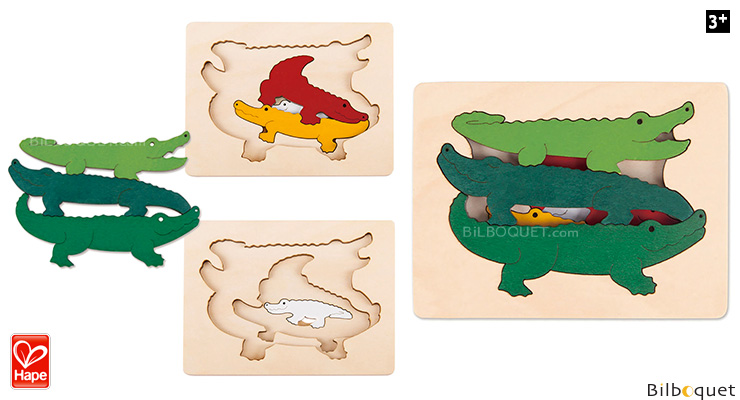 Wooden 3-layer Puzzle Crocodiles (7 pieces) by George Luck Hape Toys