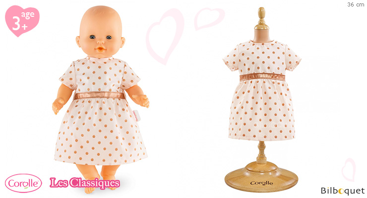 Pink Golden Dress for 36cm baby doll Corolle