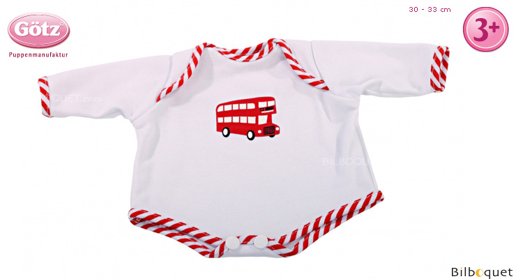 Long-sleeved bodysuit London Bus for 30-33cm baby doll Götz Dolls