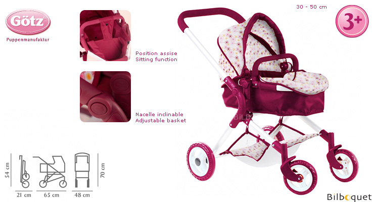 Happy Flower Pram for baby dolls up to 50cm Götz Dolls