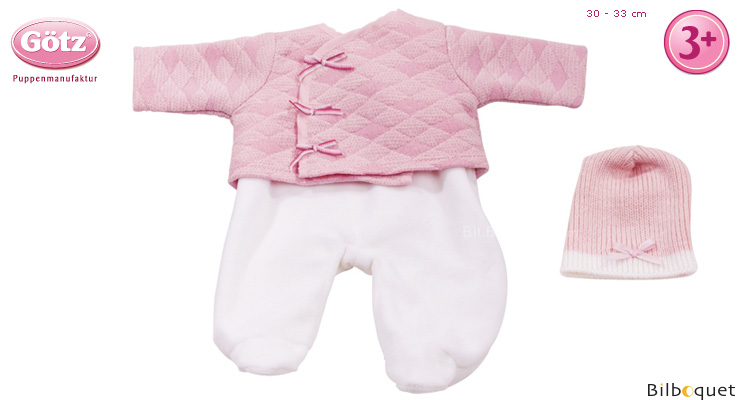 White and Pink Outfit for 30-33cm baby doll Götz Dolls