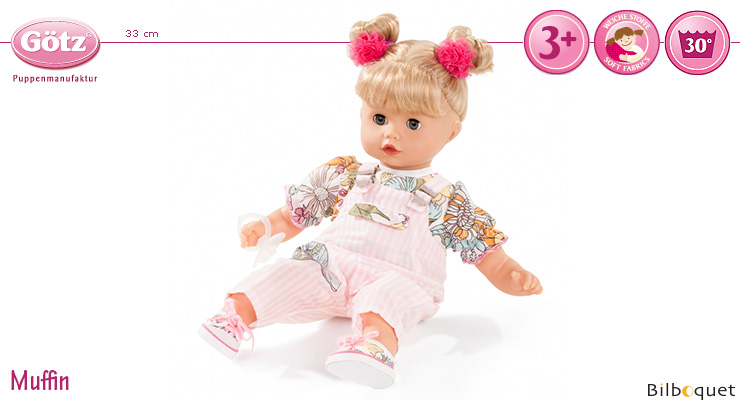 Muffin with pink overalls 33cm - Blond Hair - Soft Body Götz Dolls