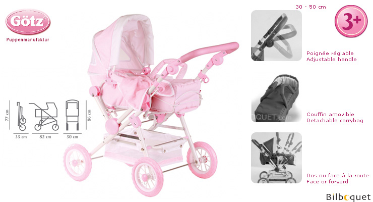 Spotted Pale Pink Pram for baby dolls up to 50cm Götz Dolls