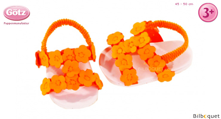 Pair of Neon Flower sandals for 45-50cm Doll Götz Dolls