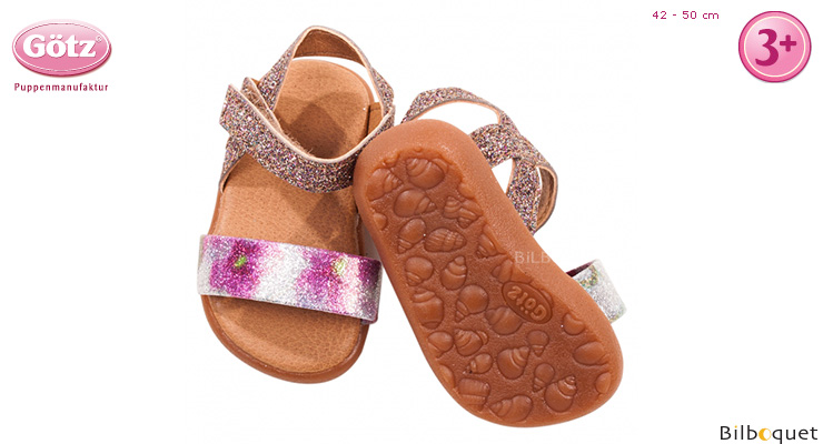 Pair of glittering sandals for 42-50cm dolls and baby dolls Götz Dolls