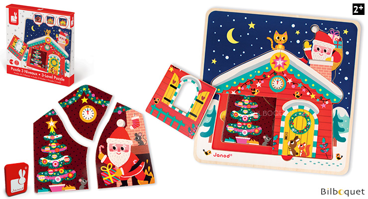 3-Level Puzzle Christmas Night Janod