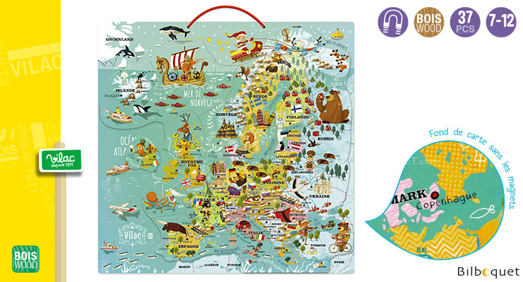 Europe Magnetic Map - Wooden Educational Game Vilac