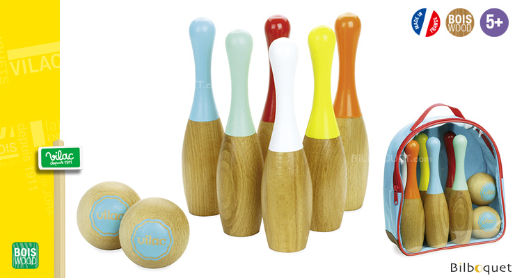 Wooden Two-colored Bowling Set Vilac