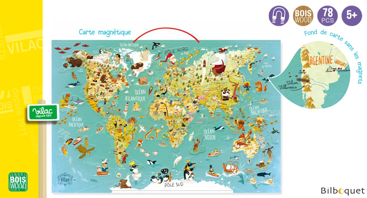 Magnetic World Map - Educational Game Vilac