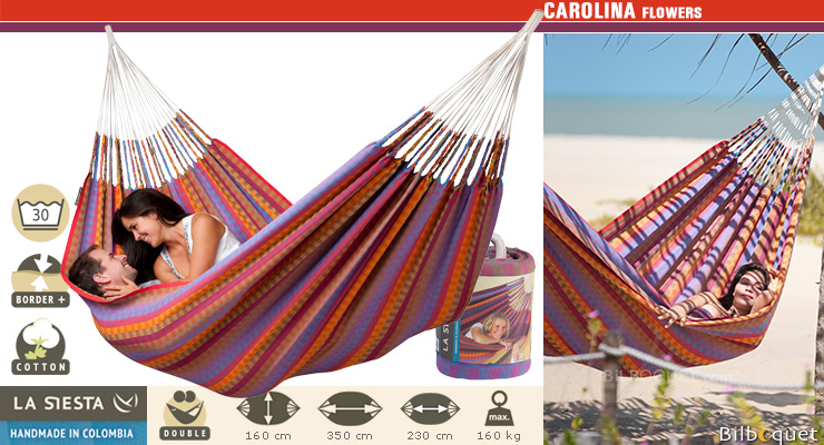 Hamac Double Carolina flowers (rouge) La Siesta Hamacs
