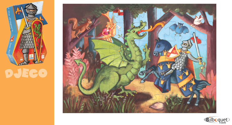 Puzzle The knight and the dragon 36 pieces Djeco