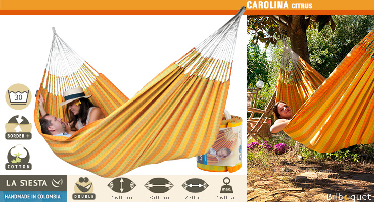 Carolina Double Hammock citrus (yellow/orange) La Siesta Hammocks