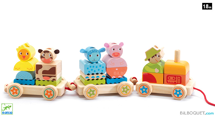 Creafarm Wooden Pull-along Activity Train Djeco