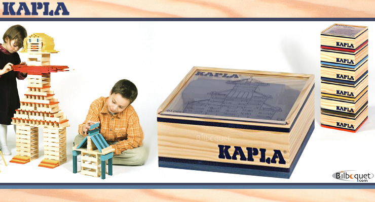 40 coloured Kapla blocks in a wooden cube dark blue Kapla