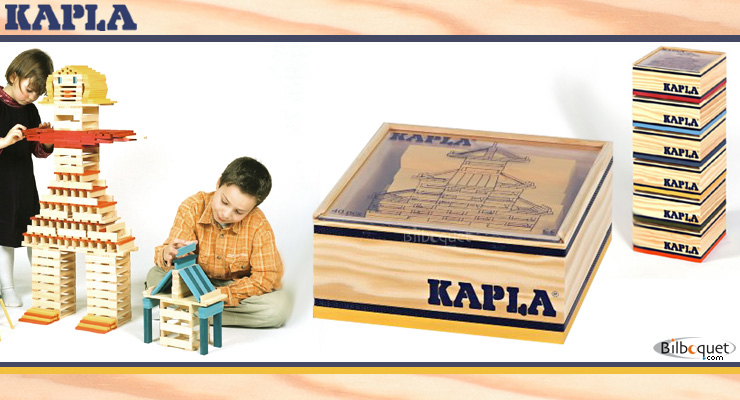 40 coloured Kapla blocks in a wooden cube yellow Kapla