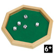 Octoganale dice plate with 5 dice