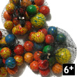 Festive terracota marbles in a net bag Bille en Brousse