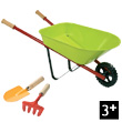 Green metal Wheelbarrow with 1 shovel and 1 rake Janod