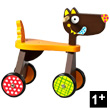 Wooden Ride-on Trike Crazy Cuddly Wolf - T'es fou louloup !!!