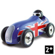 Wooden Lacquered Union Jack Old Sport Car Vilac
