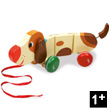 Basile the dog Wooden Pull-along toy by Mélusine Allirol Vilac