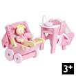 Rosebud Nursery Set and Baby - Accessories for wooden dollhouses Le Toy Van